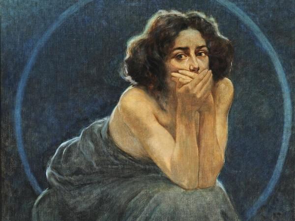 Giorgio Kienerk, L'enigma umano: il dolore, il silenzio, il piacere (part. del trittico), post 1900, olio su tela. Pavia, Musei Civici<br />