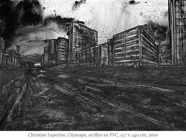 Christian Leperino, Cityscape, acrilico su PVC, 157x240 cm., 2010-1