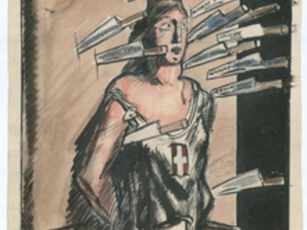 Mario Sironi, Tristo gioco, china, tempera e matita su carta, 31,3x24 cm., 1 gennaio 1925