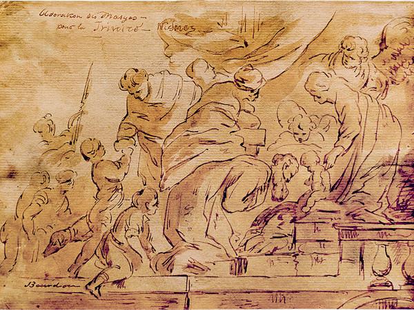 Sebastien Bourdon, L'adorazione dei Magi, XVII sec. Penna a inchiostro bruno acquarellato su carta fatta a mano, 170x230 mm. Galerie Tanglberg – Sammlung Zeichnung Tanglberg, Vorchdor
