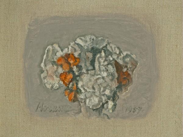 Giorgio Morandi, Fiori, 1957, (V.1020), olio su tela, cm. 22,5 x 28. Collezione Enos e Alberto Ferri. Deposito in comodato gratuito al Museo Morandi da luglio 2020