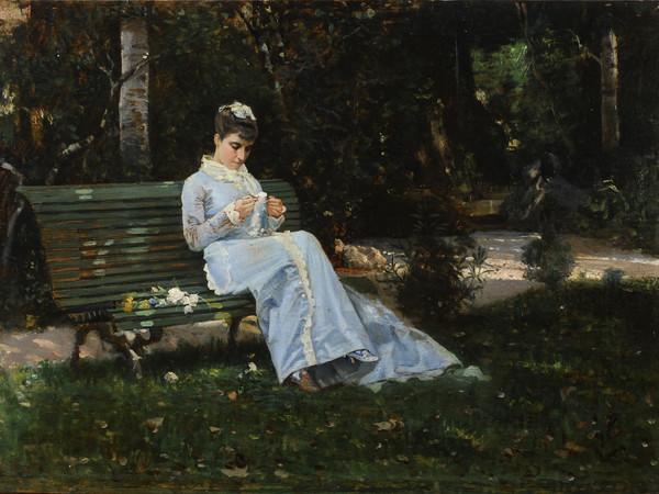 Cristiano Banti, Ritratto della figlia Alaide, 1875 ca. Olio su tavoletta, 30x42 cm. Collezione privata