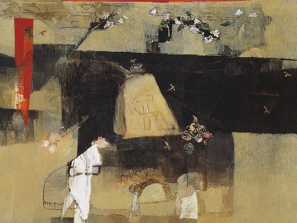 Alberto Gianquinto, La Pietra di Gramsci, olio su tela 1989