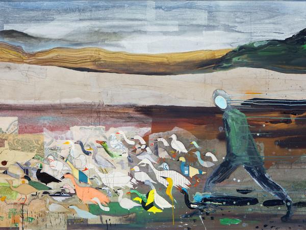Denis Riva, Piacevolmente ultimo, 2018. Acrilico, olio, matita e carta su tela, cm. 150x100