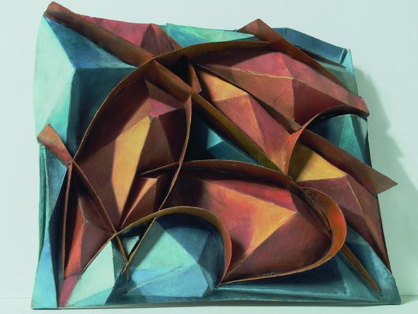 Complesso plastico colorato di frastuono + Velocità, c. 1914. Legno, cartone e lamine di stagno colorate ad olio su legno, 52x60x7 cm. Collezione privata