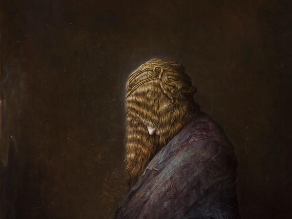 Agostino Arrivabene, L'annuncio, 2016, olio su legno, cm. 65x60