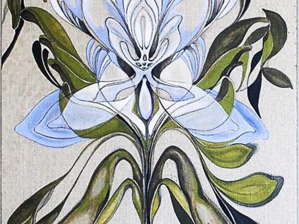 Carla Fusaro,&nbsp;Oliviero, 71&times;150 cm.&nbsp;Lino, colore acrilico, intaglio legno, 2015 (part.)<br />