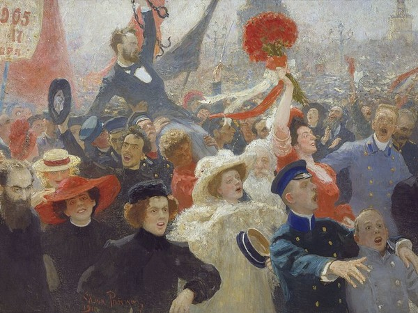 Ilya Repin, Demonstration 17 October 1905 (1907, completato nel 1911), olio su tela