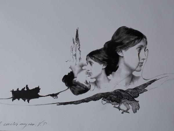 <span>Vettor Pisani, <em>Il cerchio Magico</em>, 2002, matita su stampa, 48x39 cm.</span>
