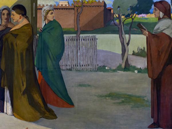 Ardengo Soffici, Incontro di Dante e Beatrice (dettaglio), 1906, olio su tela. Casa Raphael, Roncegno Terme. Su concessione di Patrimonio del Trentino Spa