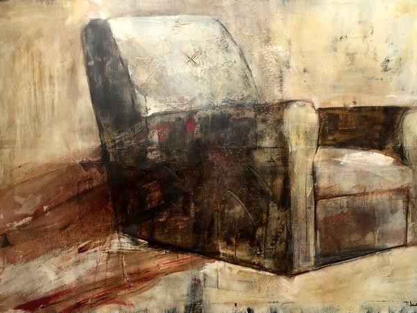 Teresa Santinelli, Pausa, olio su tela, cm. 100x150