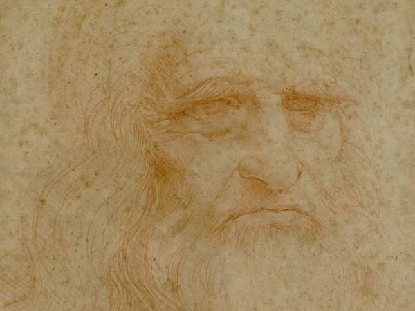 Leonardo Da Vinci, <em>Autoritratto</em>, 1515 circa, Sanguigna su carta,&nbsp; <span style=&quot;font-size: small;&quot;>33.5 x 21.6 cm.</span><br />