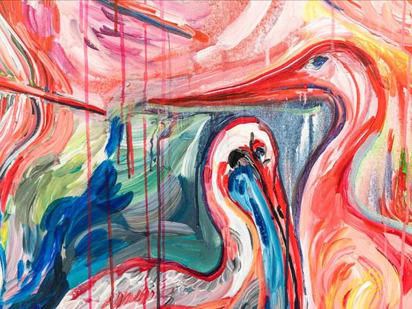 Sophie Schmidt, Vögel am Markusplatz (Uccelli in piazza San Marco), dettaglio, acrilico su tela, 200x160 cm., 2021 I Ph. Daniele Mion