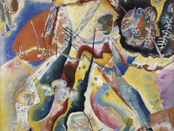 Vassily Kandinsky, Bild mit rotem Fleck (Quadro con macchia rossa), 25 febbraio 1914. Olio su tela, cm 130 x 130. Donazione Nina Kandinsky, 1976. Adam Rzepka ? Centre Pompidou, MNAM?CCI. © Centre Pompidou, MNAM?CCI / Adam Rzepka / Dist. RMN?GP © Vassily Kandinsky by SIAE 2013