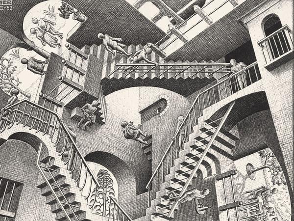 <span>Maurits Cornelis Escher</span>, <em><em>Relativit&agrave;,&nbsp;</em></em>1953. Litograf&iacute;a, 27,7x29,2 cm. The Escher Foundation Collection <div class=&quot;page&quot; title=&quot;Page 1&quot;> <div class=&quot;section&quot;> <div class=&quot;layoutArea&quot;> <div class=&quot;column&quot;><span><br /></span></div> </div> </div> </div>