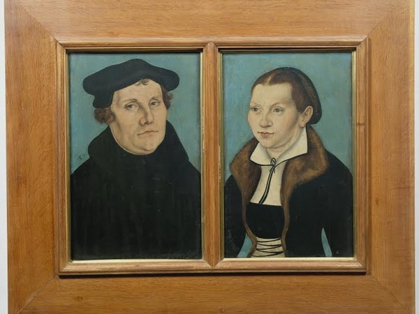 Lukas Cranach il Vecchio, Ritratti di Martin Lutero e Caterina von Bora, 1529, olio su tavola. Firenze, Gallerie degli Uffizi, Galleria delle Statue e delle Pitture<br />