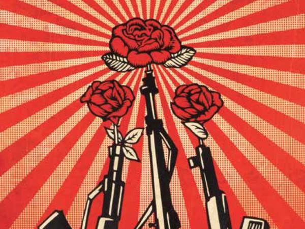Shepard Fairey, Guns and Roses, 2019, Edizione di 19 esemplari, Serigrafia e collage a tecnica mista su carta, 76 x 104 cm | Courtesy of Shepard Fairey