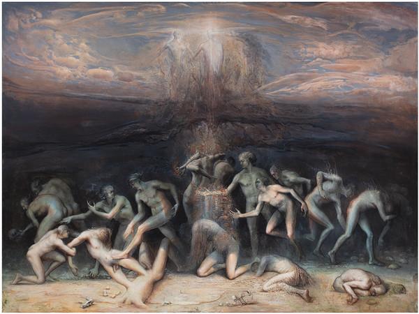 Agostino Arrivabene, Le due morti, 2020, encausto su lino, cm. 150x200. Collezione Sangalli