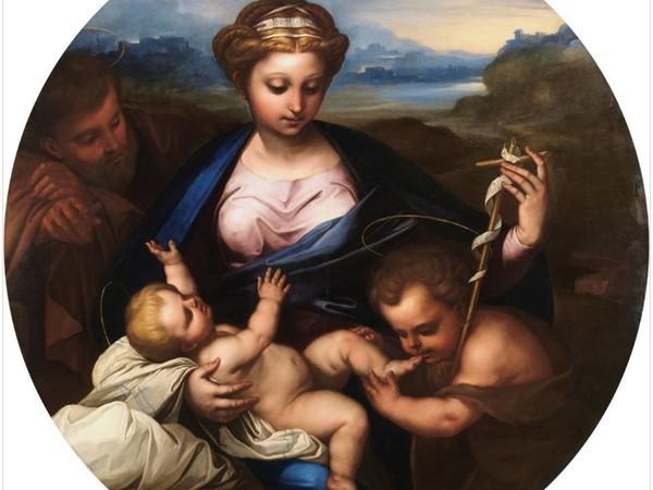 Luca Giordano, Sacra Famiglia con l'infante san Giovanni Battista, 1655, olio su tavola, Museo del Prado, Madrid