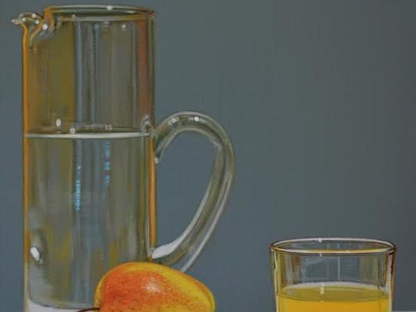 Pietro Alessandro Trovato, Riflessi giallo arancio mela, olio su tela, cm 40x30, 2016