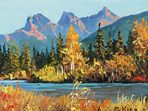 "<span id=""caption""><span id=""titleText"">Andrew Kiss, <em>Three sisters' Canmore</em>, 2015, <span id=""caption""><span id=""titleText"">Olio su tela</span></span><br /></span></span>"