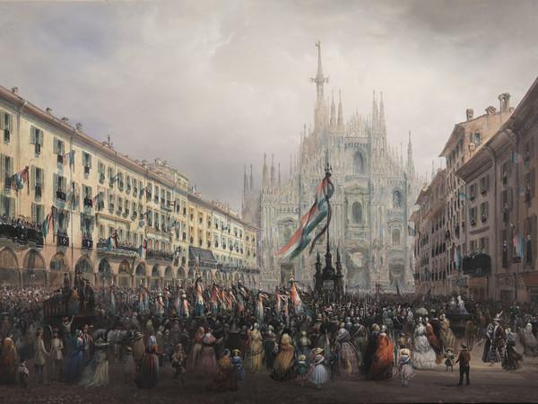 """Carlo Bossoli, Commemorazione dei caduti delle Cinque Giornate di Milano 1848, tempera su carta riportata su tela, 71,5x100,5 cm., firmato e datato in basso a destra: """"C. Bossolo 1848"""". Enrico Gallerie"""