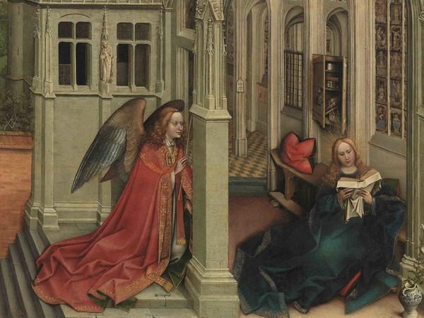 Robert Campin, <em>Annunciazione, </em><span><em>Trittico di Mérode</em>, 1428, <span>New York, </span>Metropolitan Museum of Arts</span><br />