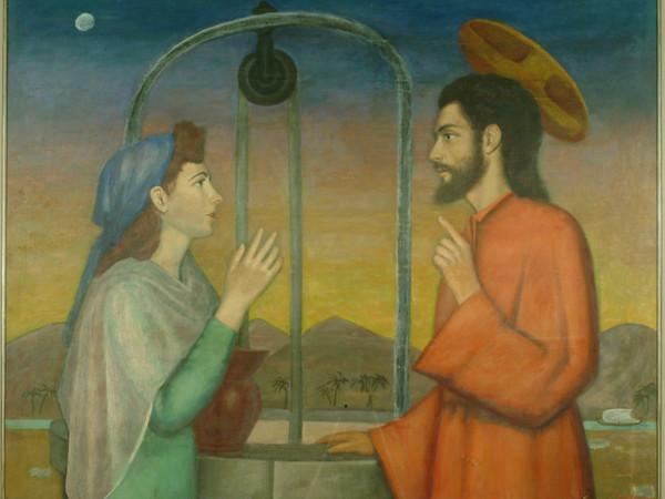 Francesco Speranza, Cristo e la Samaritana presso il pozzo, 1952, tempera su tavola
