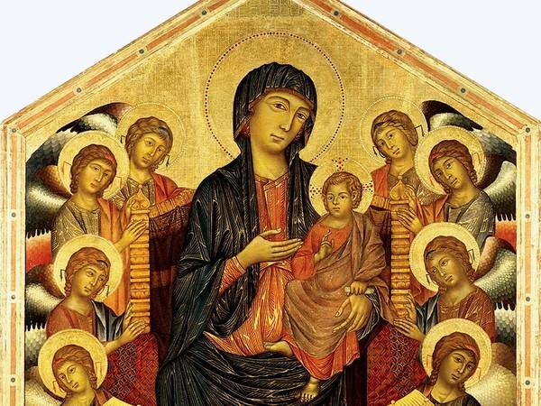 Cimabue, Maestà di Santa Trinita, 1280-1290. Tempera su tavola, cm 385×223. Galleria degli Uffizi, Firenze