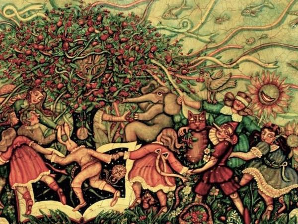 Cynthia Segato, E' tempo di ciliegie nel giardino degli aranci, tecnica mista su tavola cm 70x130 (part.)
