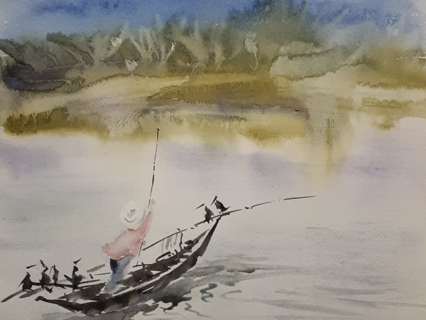 Congyue Luo, Gondola cinese, 40x36 cm.