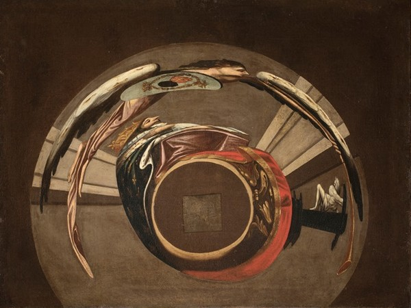 Jean Fran&ccedil;ois Niceron, <em>Anamorfosi (Ritratto di Luigi XIII davanti al crocifisso)</em>, Gallerie Nazionali di Arte Antica di Roma