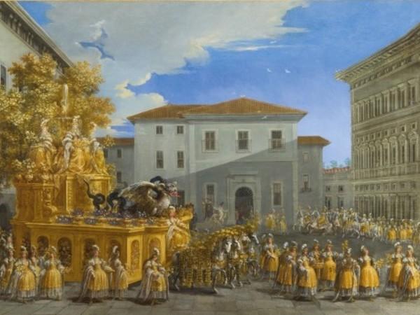 Particolare in primo piano del dipinto Il Carro d'oro di Johann Paul Schor
