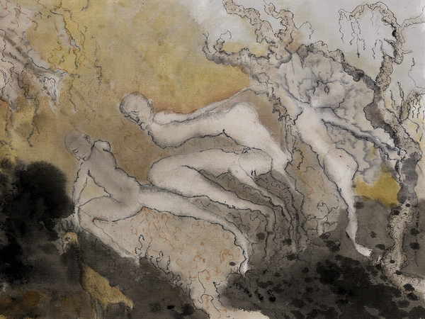 Zehra Doğan, Senza titolo, 2019, Londra, Miscele naturali su tela,77 x 50 cm | Foto: Jef Rabillon