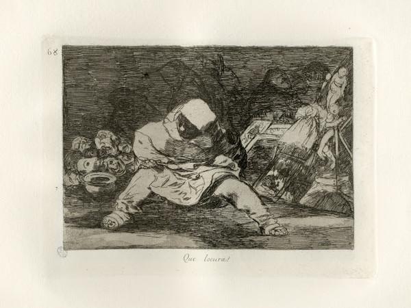 Francisco Goya, Que locura! acquaforte, bulino e lavis, 1810-1823 (Civica Raccolta delle Stampe Achille Bertarelli Albo E 188, tav. 68)