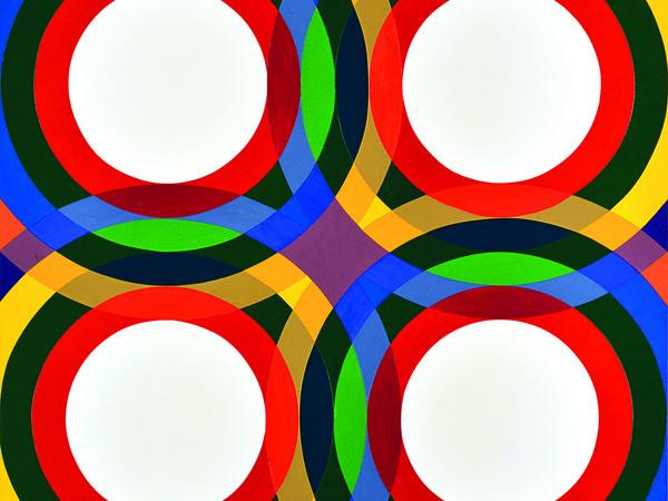 <span>Paolo Minoli, Programma 5 fase 6 AR, Compenetrazioni rotatorie e loro risultanze, 1972. Acrilico su tela, 160x160 cm</span>