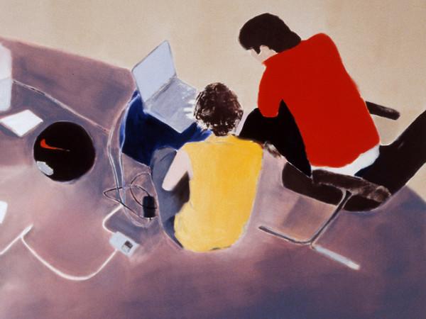 Miltos Manetas, <em>Italian Painting (ElectronicOrphanage)</em>, Particolare, 2000, Olio su tela, Collezione MAXXI Arte