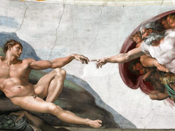 Michelangelo Buonarroti, Creazione di Adamo, 1511 circa, Affresco, 280 cm x 570 cm, Cappella Sistina, Musei Vaticani, Città del Vaticano, Roma