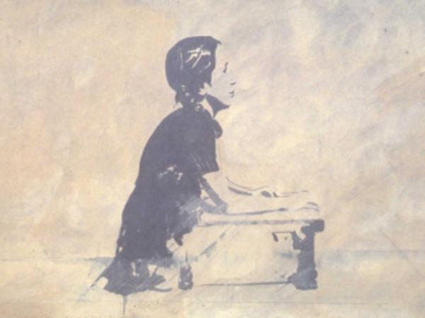 Giosetta Fioroni, Autoritratto a nove anni, 1966. Matita, colore alluminio e smalto bianco su tela, cm 80,5 x 180,5 x 2