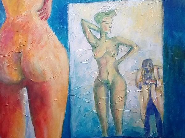 Daniele Alfani, A H Newton, 2019,acrilici su tela, 60x80 cm.