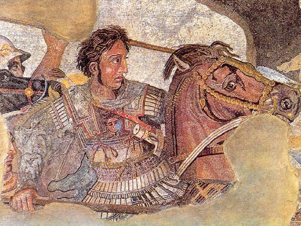 Alessandro Magno che combatte contro Dario III a Isso