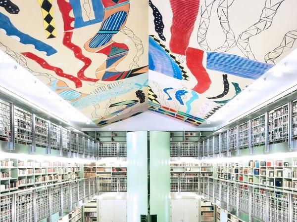 Ignazio Moncada, Soffitto della Biblioteca di Palazzo Branciforte, 2012, acrilico su carta