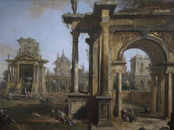 Canaletto (1697-1768), Capriccio con rovine, 1723 olio su tela, 322 x 178 cm, Svizzera, Collezione privata