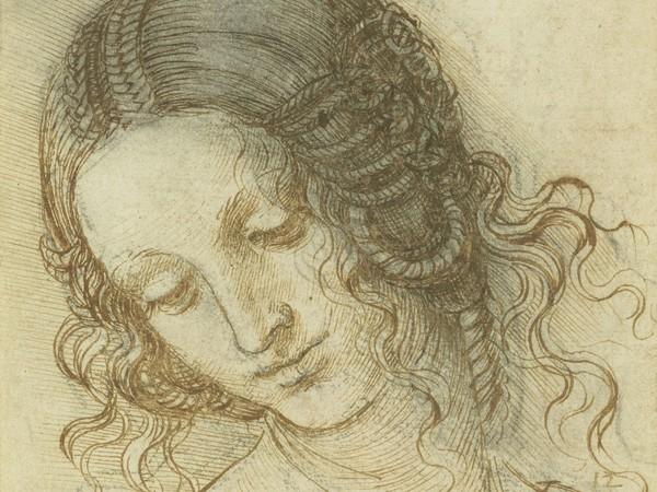 Leonardo da Vinci (Vinci 1452 - Amboise 1519), <em>La Testa di Leda</em>, 1504-1506 circa, Penna e inchiostro su gesso nero su carta, 14.7x17.7 cm | RCIN 912518