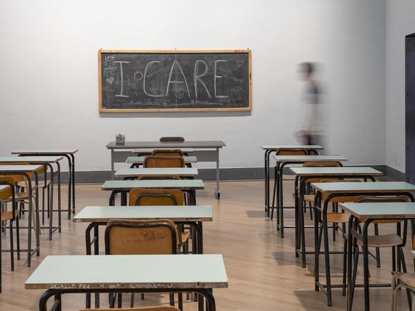 La sala dedicata al progetto Aula Magna all'interno della mostra Ti Bergamo - Una comunità I Ph. Lorenzo Palmieri
