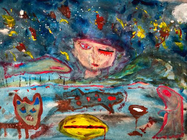 Yuval Avital, Silent Night, 2018, tecnica mista su carta / mixed media on paper, 42 x 59,4 cm.