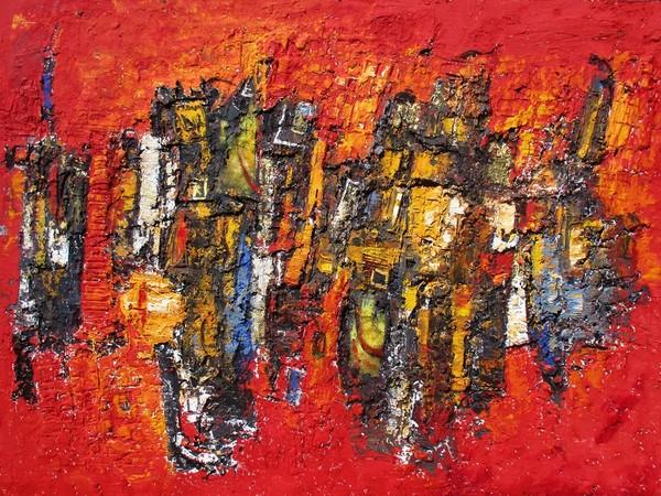 Alfonso Borghi, Un vivace mattino, 2021, tecnica mista su tela, 160 x 220 cm.