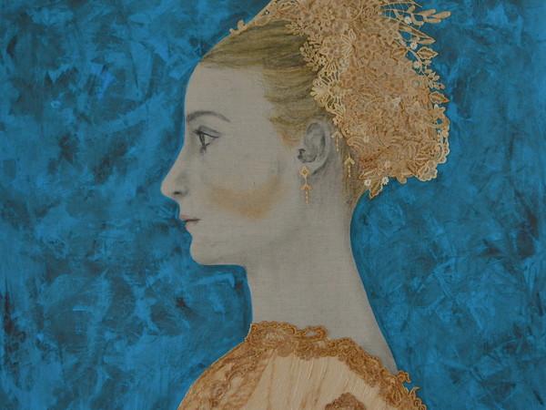 Maggie Genova-Cordovi, Lucrezia, 2016, pittura acrilica, caffè cubano, pigmenti di carbone, pizzo e garza su lino