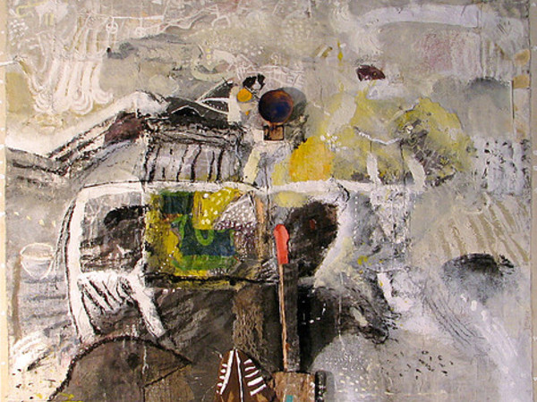 Medhat Shafik, Palmira, 2017, mixed media on canvas, 150x150 cm.