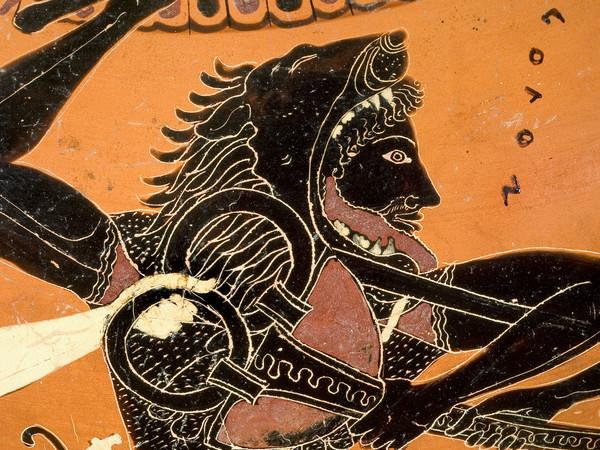 Eracle disputa ad Apollo il tripode di Delfi, Anfora attica a figure nere attribuita al Pittore di Antimene, 510 a.C. circa, Altezza 47.2 cm, Antikenmuseum Basel und Sammlung Ludwig